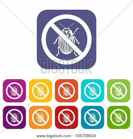 No potato beetle sign icons set vector illustration in flat style In colors red, blue, green and other