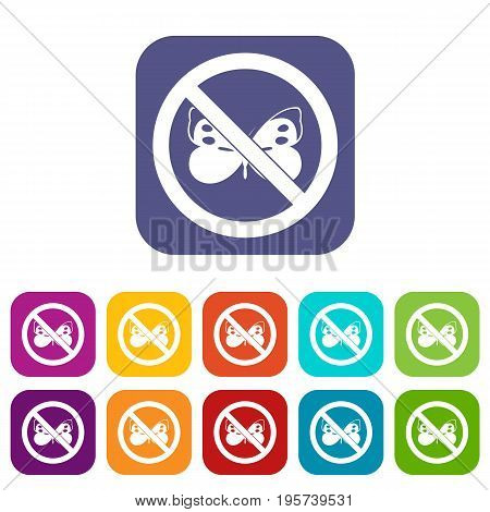 No butterfly sign icons set vector illustration in flat style In colors red, blue, green and other