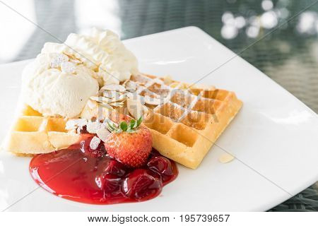Strawberry Waffle with ice cream