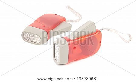 Hand Pressing Led Flashlight Red Plastic Holder With Hand Rope