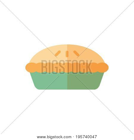 Flat pie icon. Vector illustration isolated on a white background. Simple color pictogram of pie.