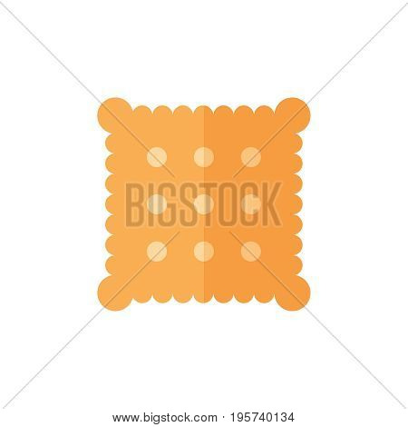 Flat biscuit icon. Vector illustration isolated on a white background. Simple color pictogram of biscuit.