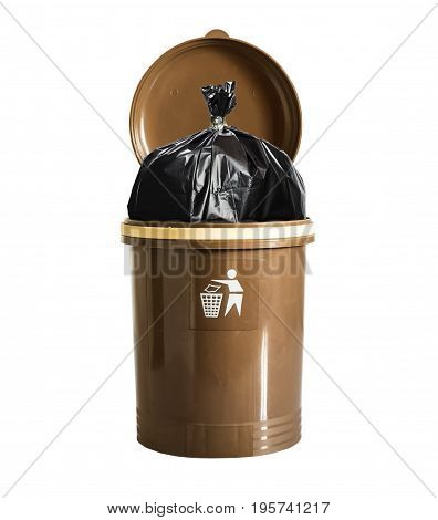 trash in recycle bin on isolated white background