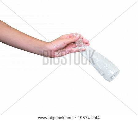 hand holding a bottle isolated on white background