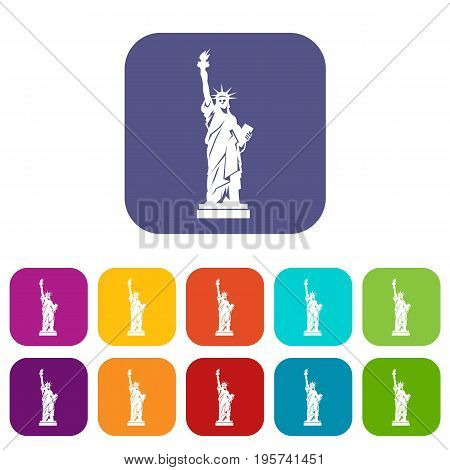 Statue of liberty icons set vector illustration in flat style In colors red, blue, green and other