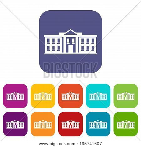 White house USA icons set vector illustration in flat style In colors red, blue, green and other