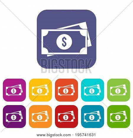 American dollars icons set vector illustration in flat style In colors red, blue, green and other