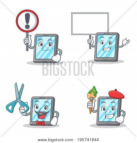 Set of tablet character with sign bring board barber artist vector illustration