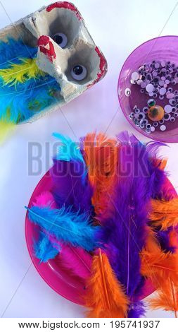 Top view of kid's arts and crafts activity