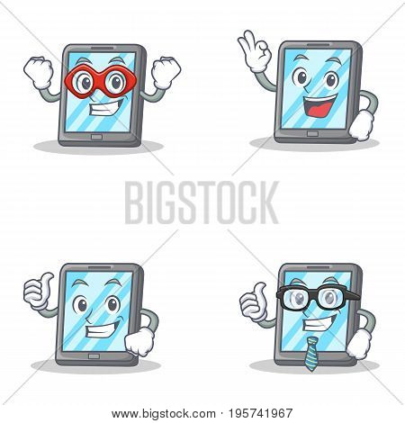 Set of tablet character with hero okay proud businessman vector illustration