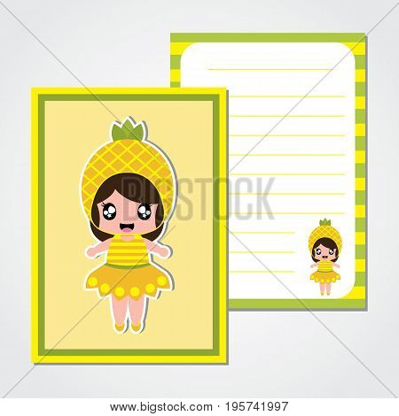 Cute paper note with cute pineapple girl vector cartoon for kid paper, scrap book and postcard