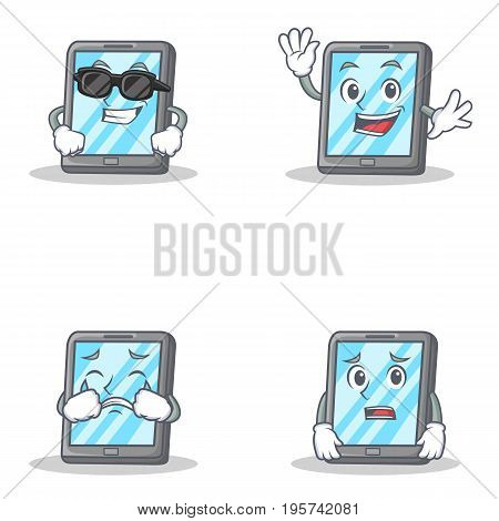 Set of tablet character with cool waving crying afraid vector illustration