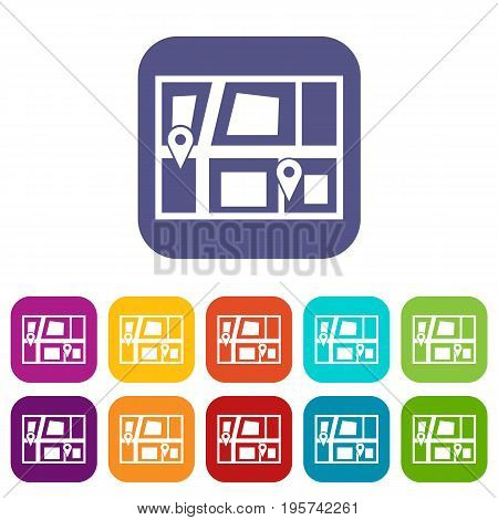 Geo location of taxi icons set vector illustration in flat style In colors red, blue, green and other