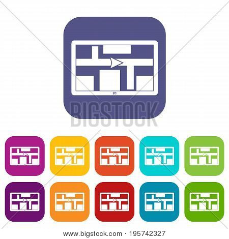 GPS navigation icons set vector illustration in flat style In colors red, blue, green and other