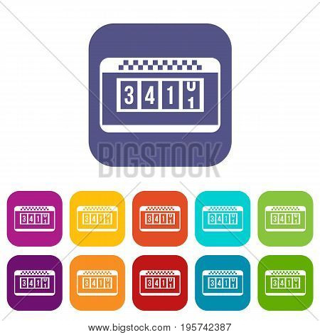 Taximeter icons set vector illustration in flat style In colors red, blue, green and other