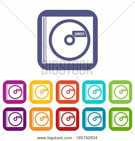 CD with danger lettering icons set vector illustration in flat style In colors red, blue, green and other