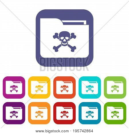 File folder with a skull icons set vector illustration in flat style In colors red, blue, green and other