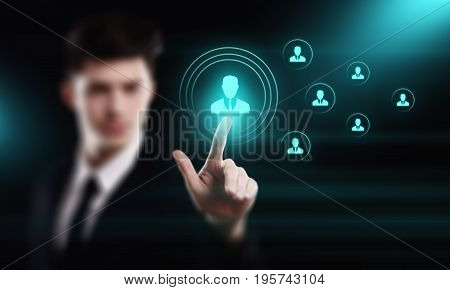 Businessman presses button. Human Resources HR management Recruitment Employment Headhunting Concept