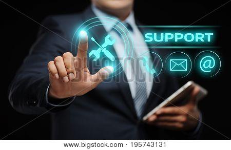 Businessman press button. Technical Support Center Customer Service Internet Business Technology Concept