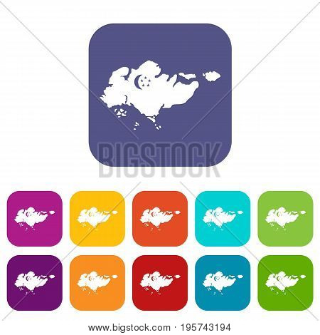 Map of Singapore with flag icons set vector illustration in flat style In colors red, blue, green and other