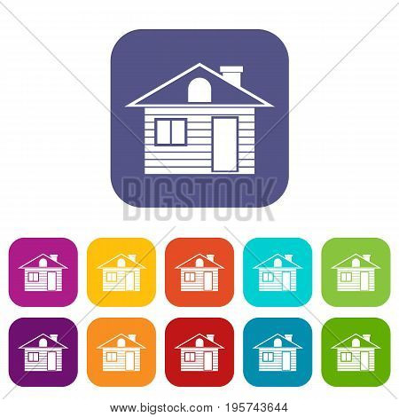 Wooden log house icons set vector illustration in flat style In colors red, blue, green and other