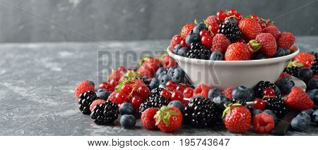 Salad of fresh forest berries on a gray background