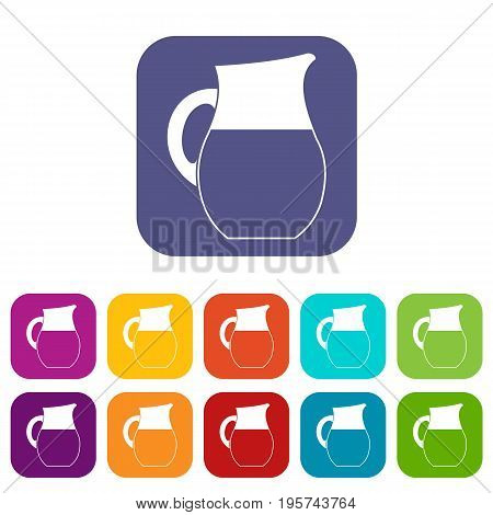 Pitcher of milk icons set vector illustration in flat style In colors red, blue, green and other