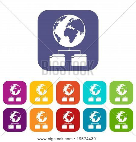 Planet and two folders icons set vector illustration in flat style In colors red, blue, green and other