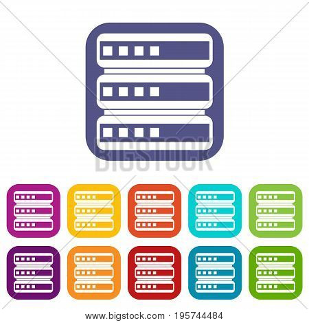 Database icons set vector illustration in flat style In colors red, blue, green and other