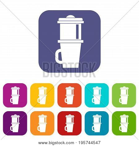 Mug for coffee icons set vector illustration in flat style In colors red, blue, green and other
