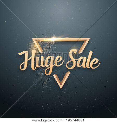 Illustration of Vector Sale Banner Sticker Template. Huge Sale Lettering with Gold Glitter Effect