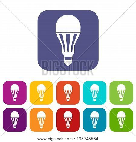 Led bulb icons set vector illustration in flat style In colors red, blue, green and other
