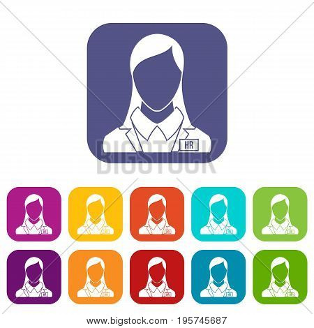 HR management icons set vector illustration in flat style In colors red, blue, green and other