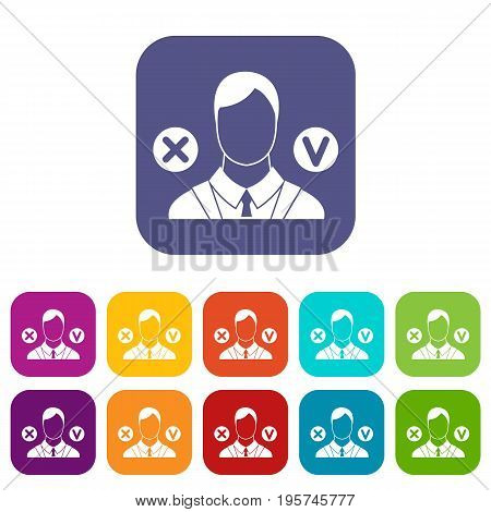 Selection icons set vector illustration in flat style In colors red, blue, green and other