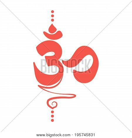 Om Aum Ohm india symbol meditation yoga mantra hinduism buddhism zen icon vector. Spiritual Yoga Symbol.