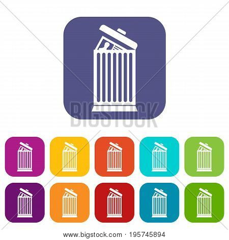 Resume thrown away in the trash can icons set vector illustration in flat style In colors red, blue, green and other