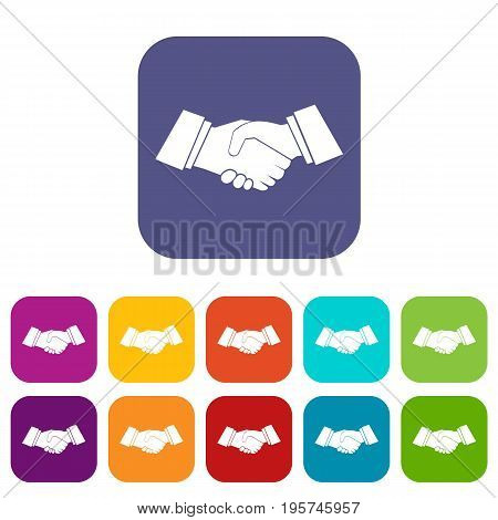 Handshake icons set vector illustration in flat style In colors red, blue, green and other