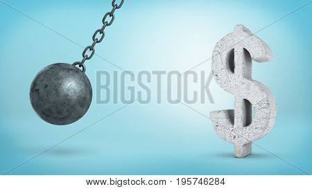 3d rendering of a large swinging wrecking ball beside concrete USD sign. Foreign exchange. Stable investment. Financial advice.