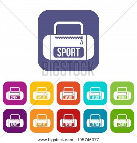 Sports bag icons set vector illustration in flat style In colors red, blue, green and other