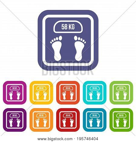 Weight scale icons set vector illustration in flat style In colors red, blue, green and other