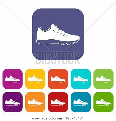 Sneakers icons set vector illustration in flat style In colors red, blue, green and other