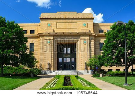 Strong Hall at the University of Kansas in Lawrence Kansas on a Sunny Day