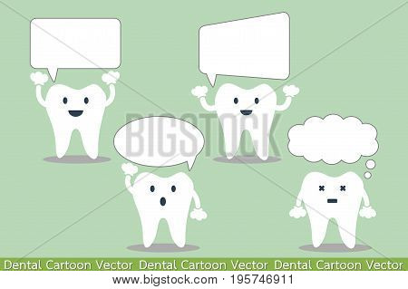 tooth cartoon vector - set of teeth with various speech bubble. talking teeth. place for your text.