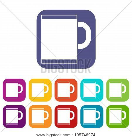 Tea mug icons set vector illustration in flat style In colors red, blue, green and other