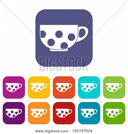 Cup icons set vector illustration in flat style In colors red, blue, green and other