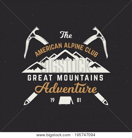 Vintage hand crafted label. Mountain expedition, outdoor adventure badge with climbing symbols and typography design. isolated.