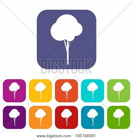 Fluffy tree icons set vector illustration in flat style In colors red, blue, green and other