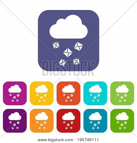 Cloud and hail icons set vector illustration in flat style In colors red, blue, green and other