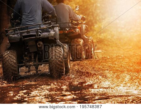 man riding atv vehicle on off road track people outdoor sport activitiies theme