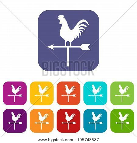 Weather vane with cock icons set vector illustration in flat style In colors red, blue, green and other